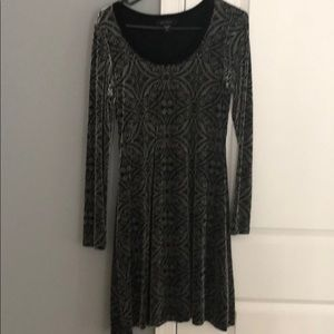 Black gray long sleeve dress
